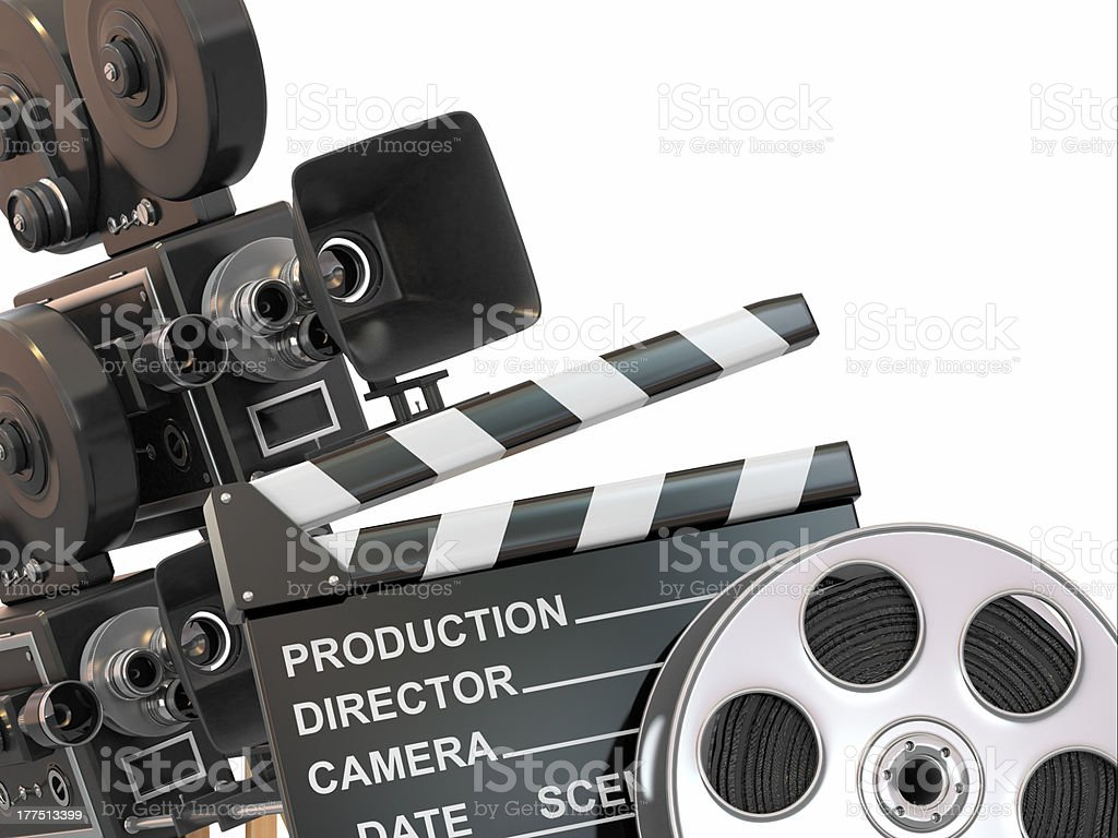 Movie composition. Vintage camera, reel and clapperboard. stock photo