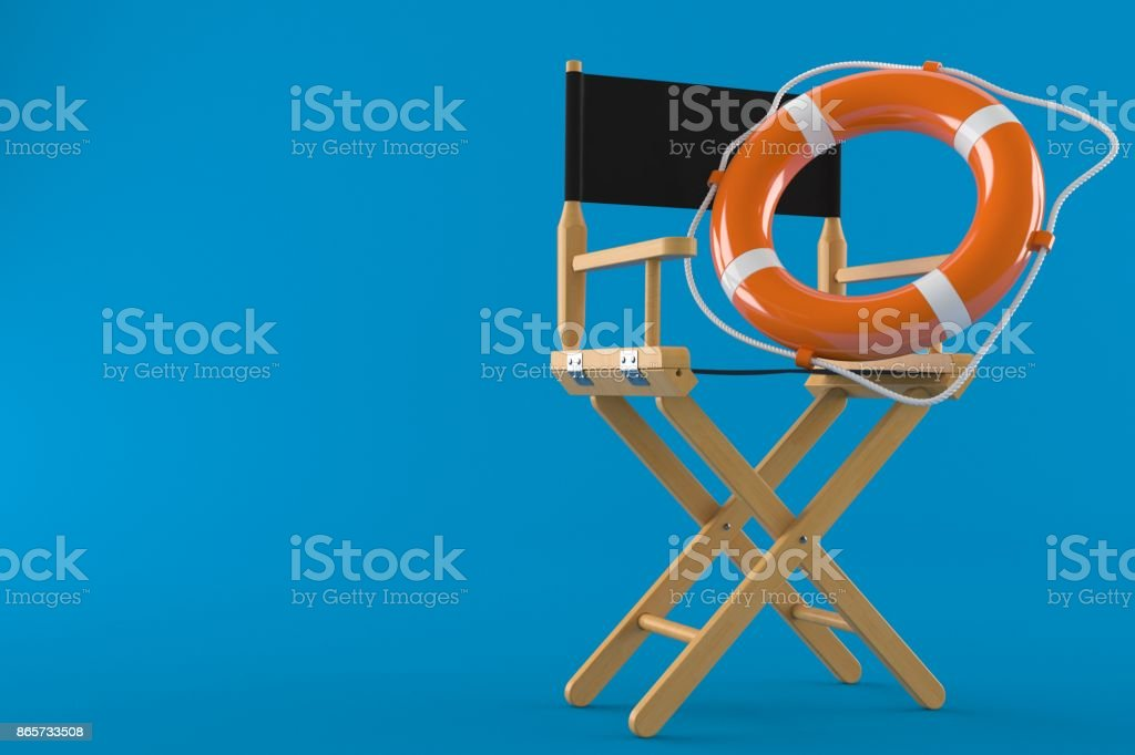 movie director chair with life buoy stock photo