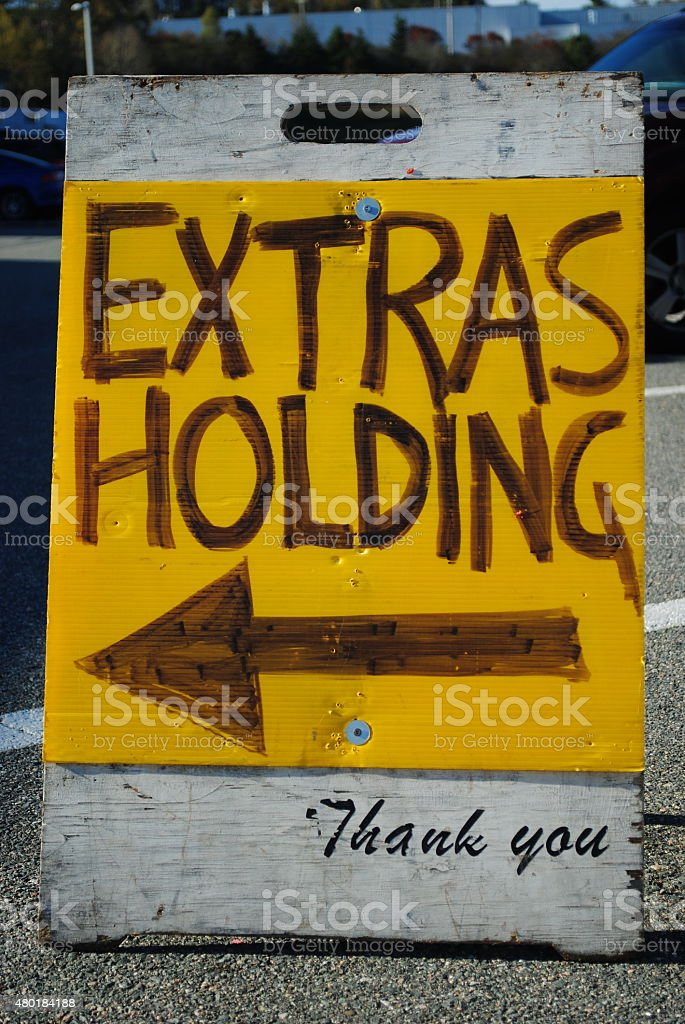 Movie Extras On-Set Sign stock photo