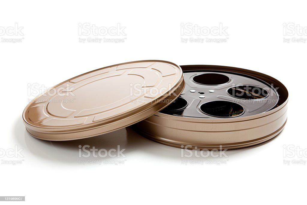 Movie film canister on white stock photo