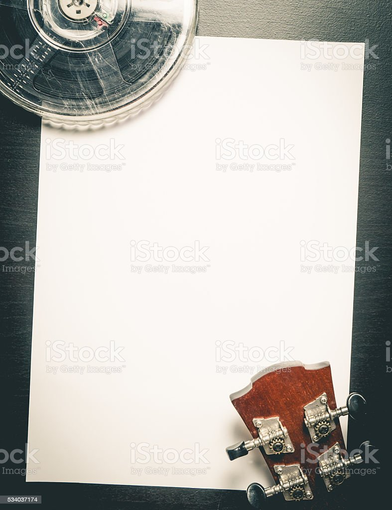 Movie Film Music Writing on Blank paper. stock photo