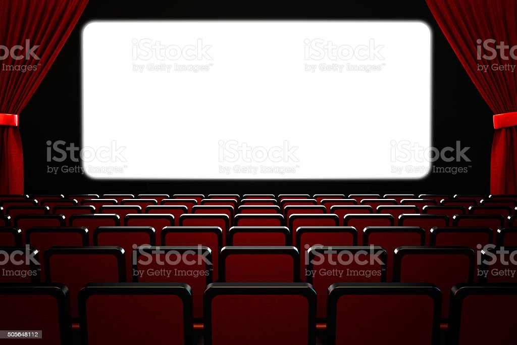 Movie film premiere and show performance concept, theatre hall interior stock photo