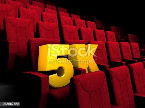High definition film logo on cinema seats.