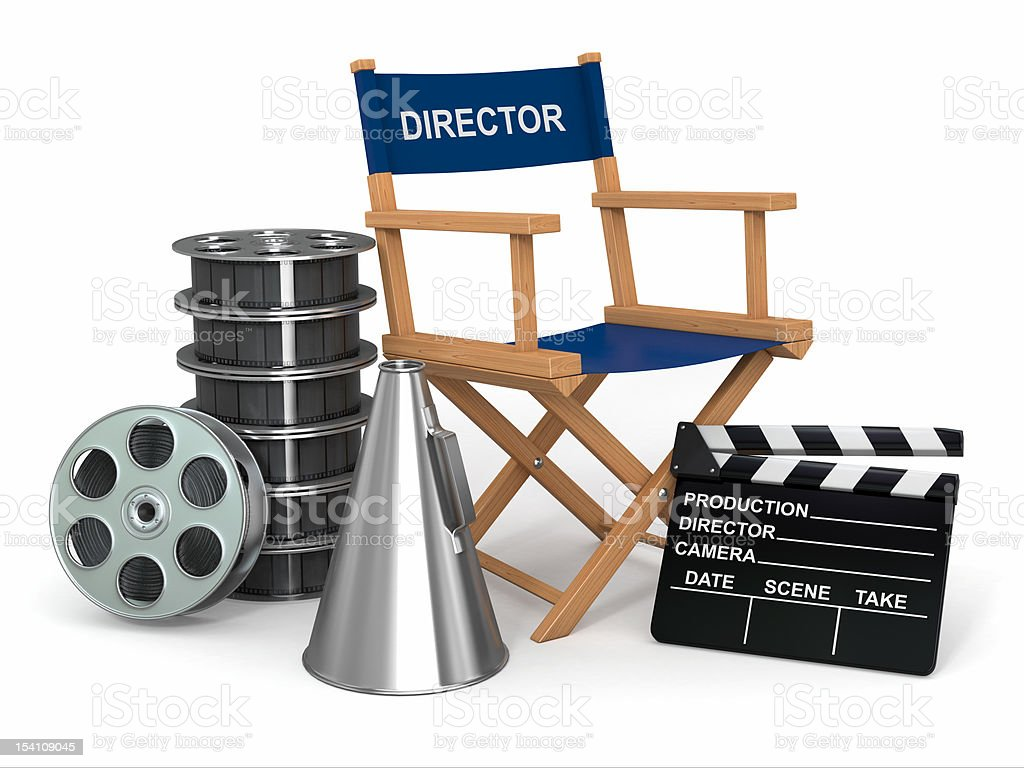 Movie industry. Producer chair, ñlapperboard and film reelsl. royalty-free stock photo