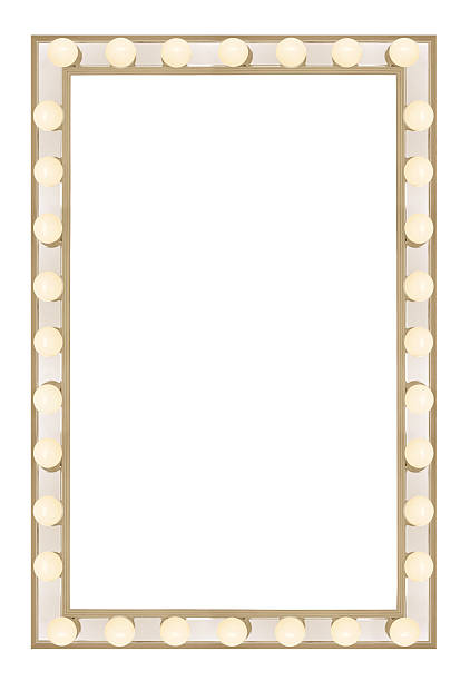 movie marque border XXL space to drop in your movie poster or play poster. Isolate on a white background. theater marquee commercial sign stock pictures, royalty-free photos & images