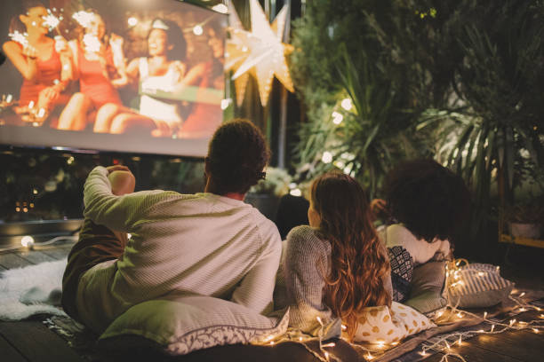Movie night at back yard stock photo