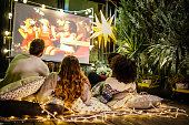 istock Movie night at back yard 1194869513