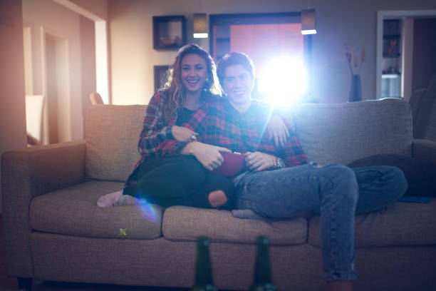 movie night at home - projection equipment stock pictures, royalty-free photos & images