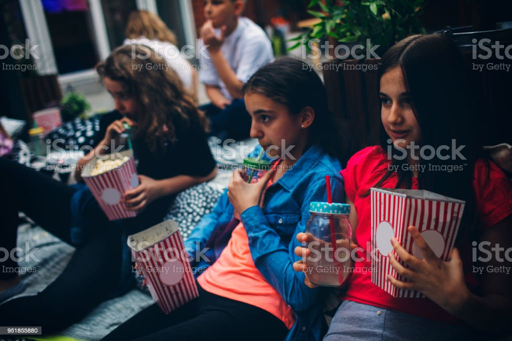 Movie Night In Backyard stock photo