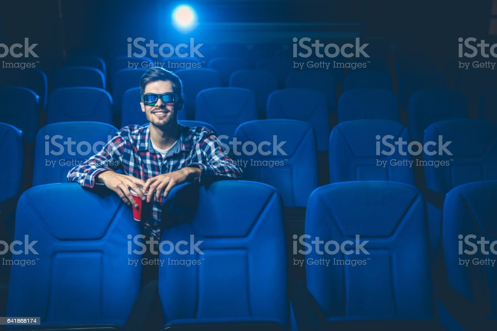 Movie night out stock photo