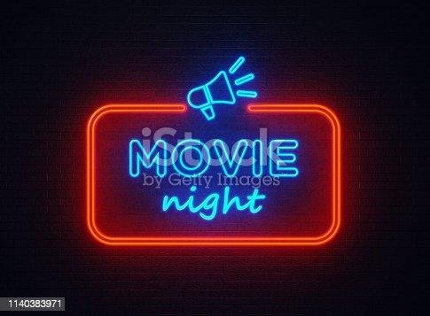 istock Movie Night Shaped Neon Light On Black Wall 1140383971