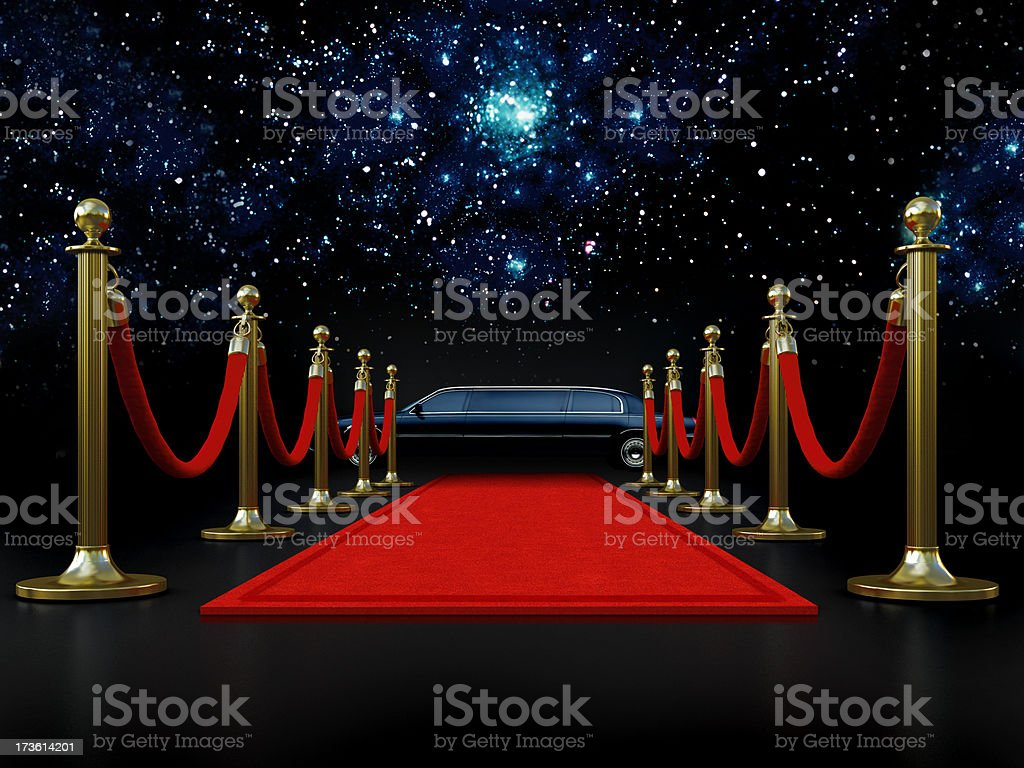 Movie night with red carpet and a limousine royalty-free stock photo