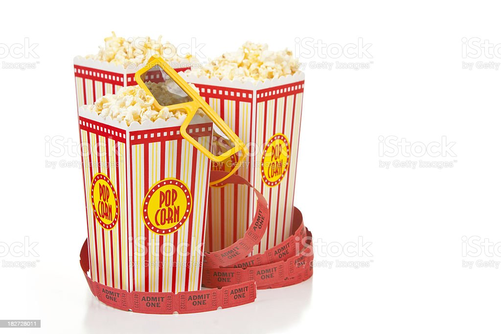 Movie Popcorn and 3D glasses royalty-free stock photo