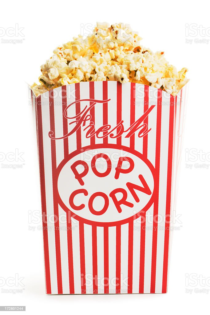 Movie Popcorn Box, Fresh Snack Food Container Isolated on White stock photo