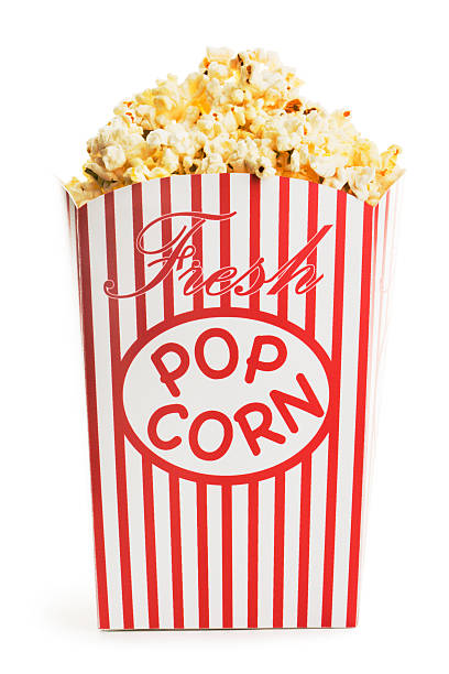 movie popcorn box, fresh snack food container isolated on white - popcorn stockfoto's en -beelden