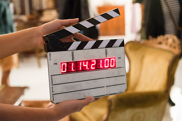 movie production digital clapper board - film director stock pictures, royalty-free photos & images