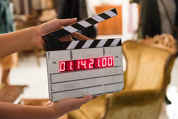 Movie production digital clapper board stock photo