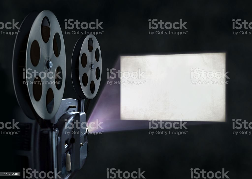 Movie projector and blank screen stock photo