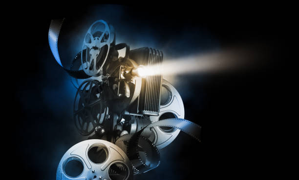 Movie projector on movie background