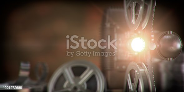 Movie projector with light beam and film reels on dark background. Cinema, movie, video retro vintage background. 3d illustration