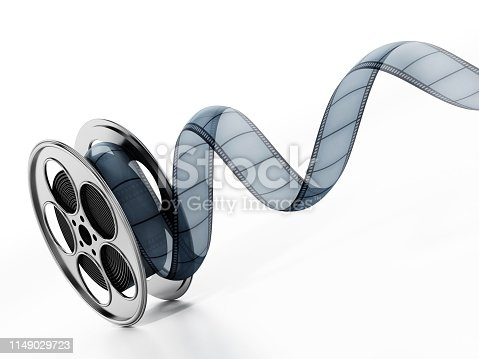 Movie reel and film strip isolated on white.