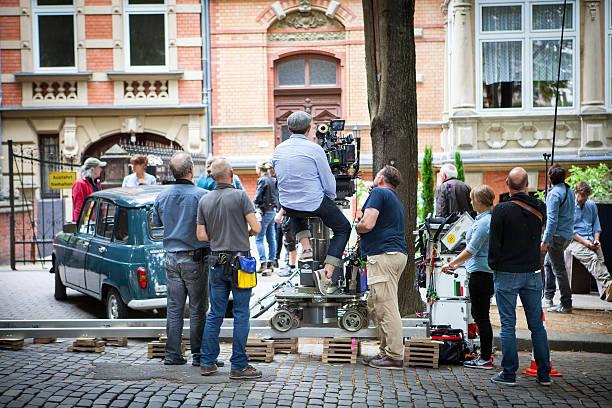 Movie set on a street in Wiesbaden stock photo