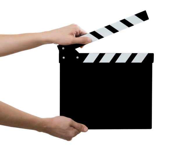 Movie Slate board in hand isolated stock photo