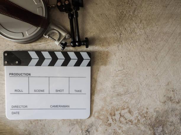 movie slate board stock photo