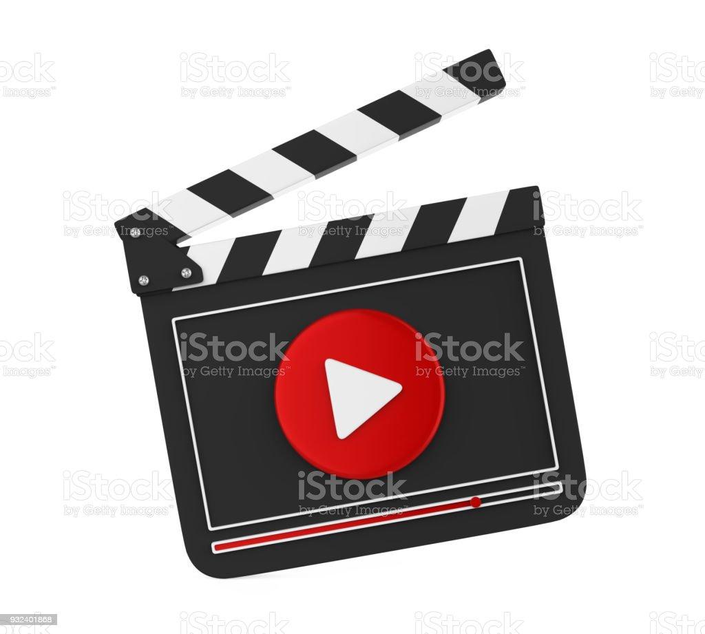 Pizarra de la película con botón Play aislado - foto de stock
