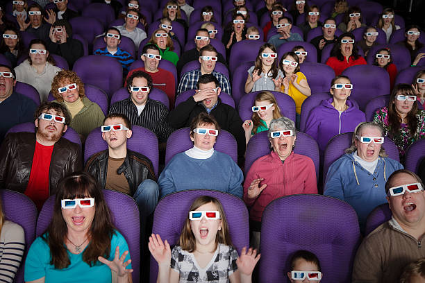 3D Movie Theater Audience stock photo