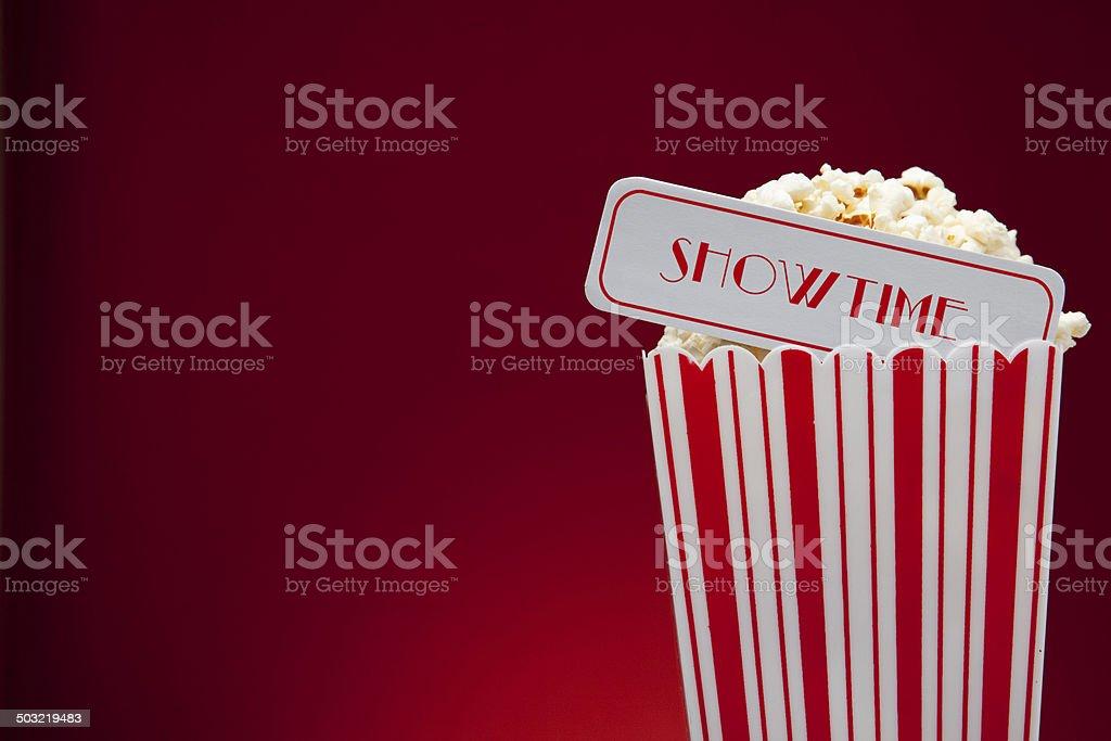 Movie theater bucket of popcorn. stock photo