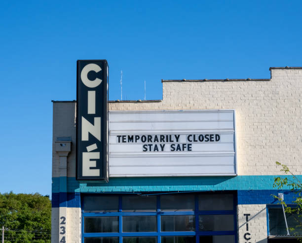 Movie Theater Closed Sign stock photo