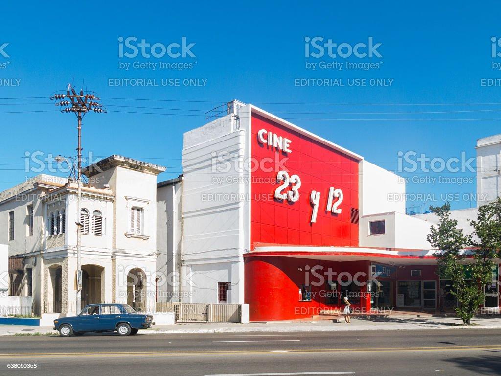 Movie theater in Havana, Cuba stock photo