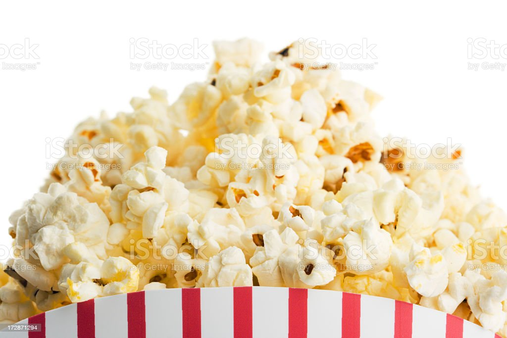 Movie Theater Popcorn Box, Fresh Snack Food on White Background royalty-free stock photo