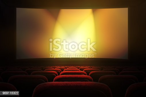 istock Movie theater with projection screen 959115322