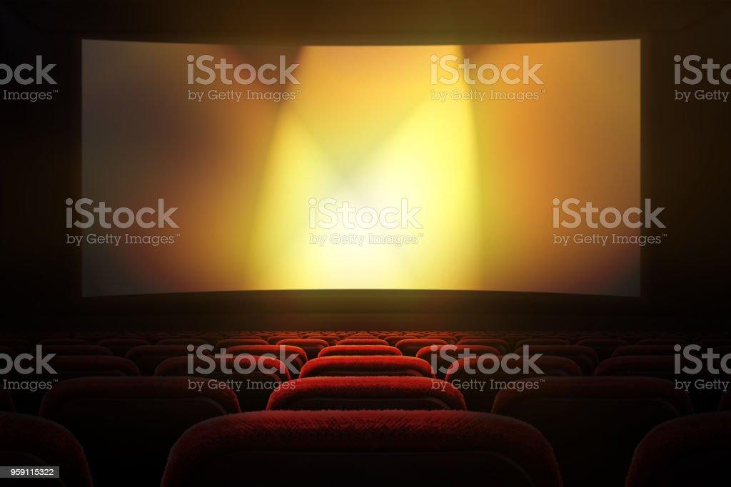 Cine con pantalla de proyección - foto de stock