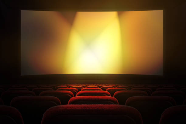 movie theater with projection screen - film industry stock pictures, royalty-free photos & images