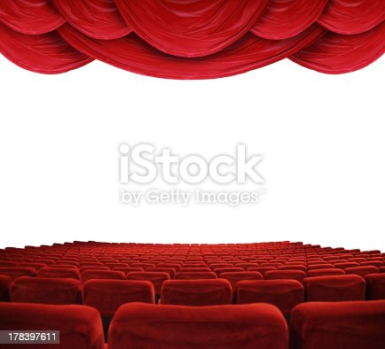 istock Movie theater with red curtains 178397611