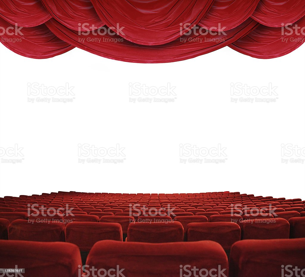 Movie theater with red curtains stock photo