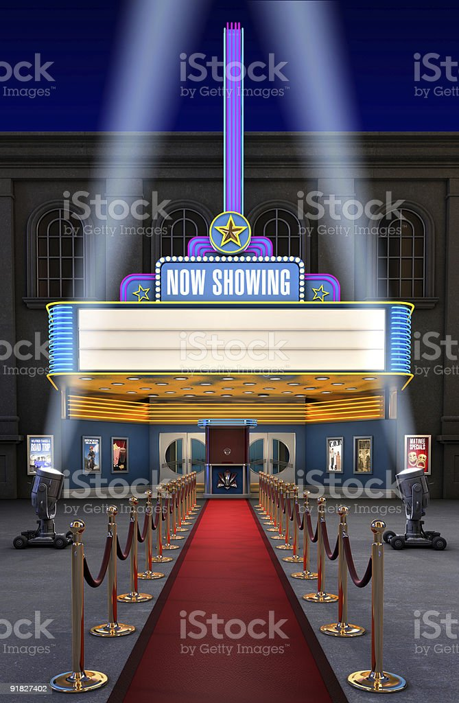 Movie Theatre & Ticket Box stock photo