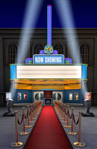 Movie Theatre & Ticket Box  theater marquee commercial sign stock pictures, royalty-free photos & images