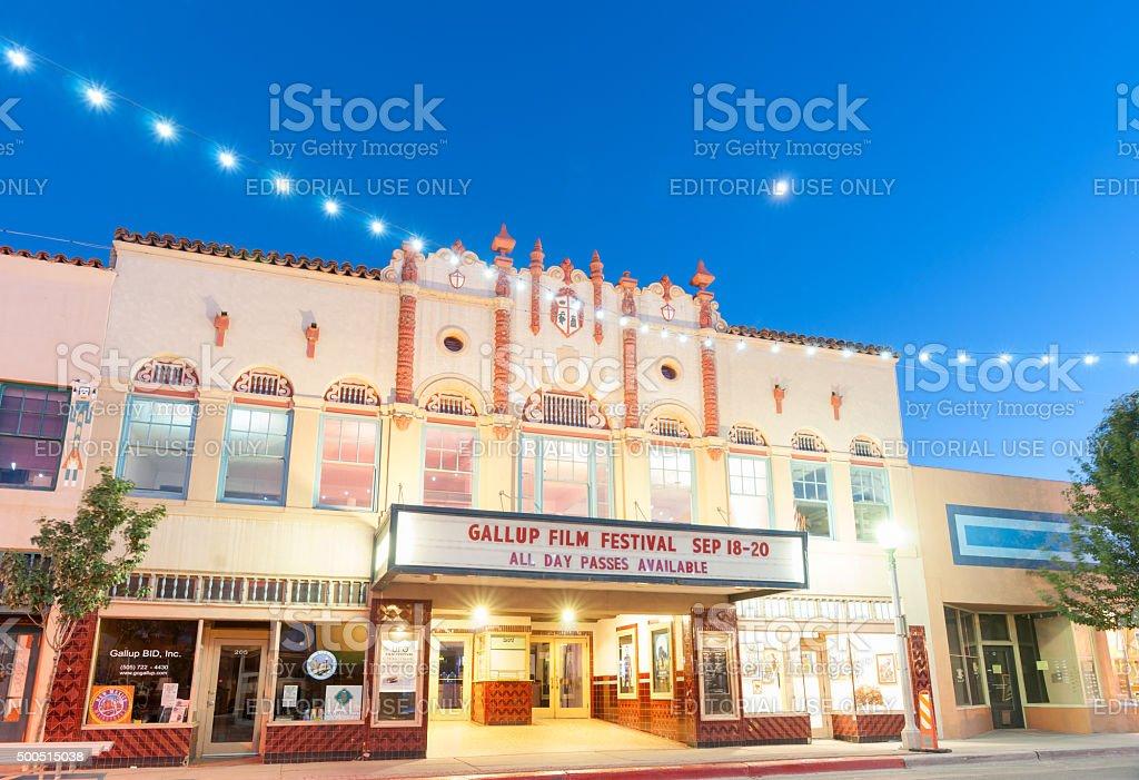 Movie theatre El Morro  main street scene with decorative ligh stock photo