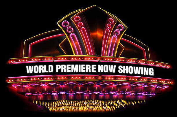 movie theatre marquee stock photo