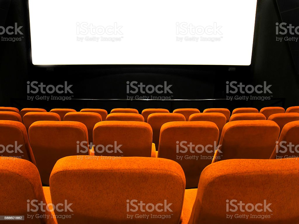 Movie theatre (screen and chairs) stock photo