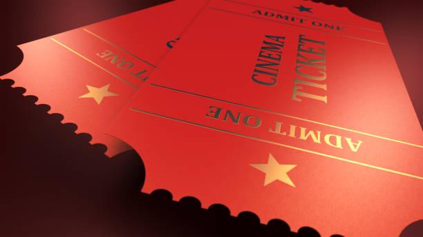 Bilhete de cinema - imagem de estoque - foto de acervo