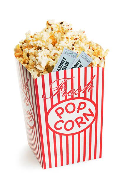 film in popcorn matrici dei biglietti per eventi di intrattenimento e vita notturna - biglietto del cinema foto e immagini stock