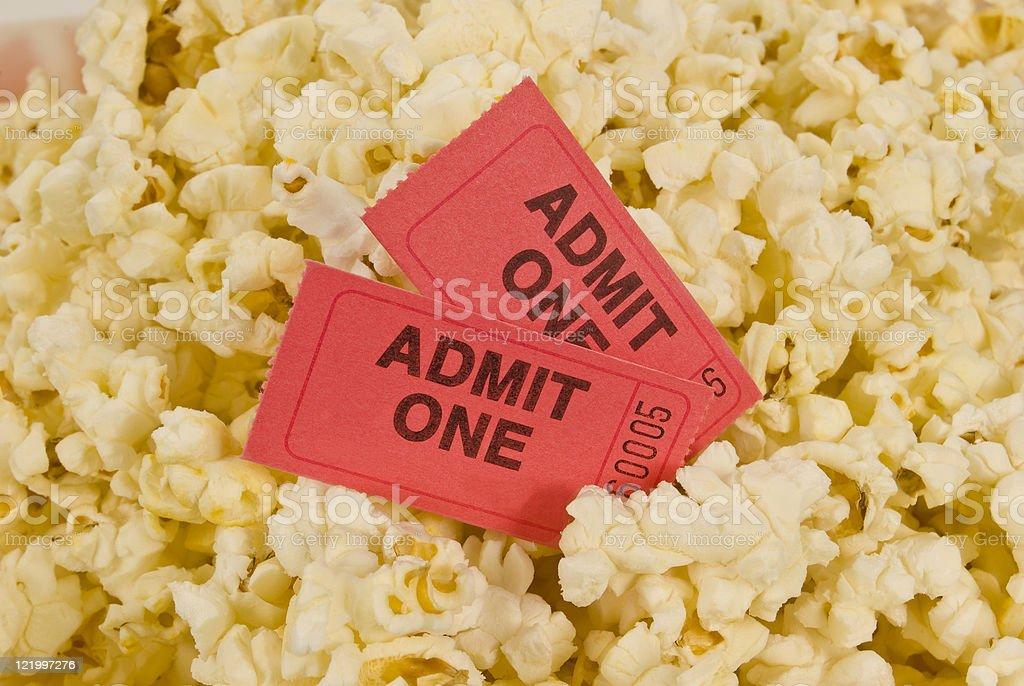 Movie Tickets and Popcorn royalty-free stock photo