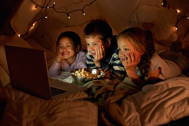 Movie time in the blanket fort stock photo