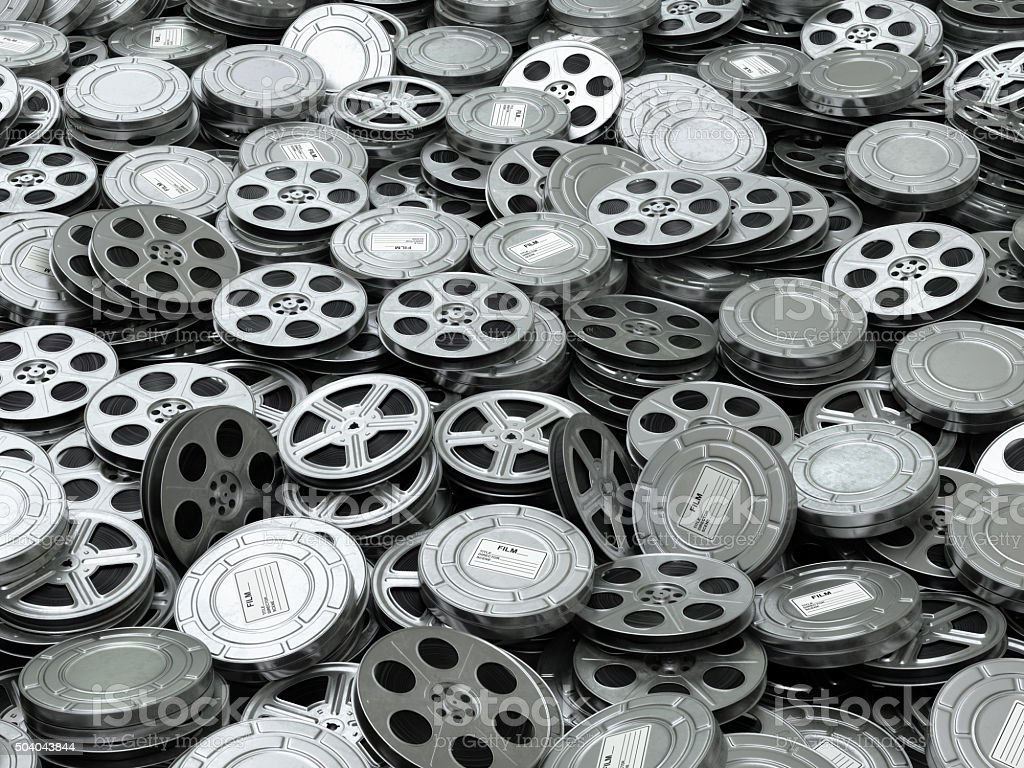 Movie video reels background. Films collection. stock photo
