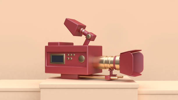 movie-cinema camera red gold set on cream scene 3d rendering stock photo